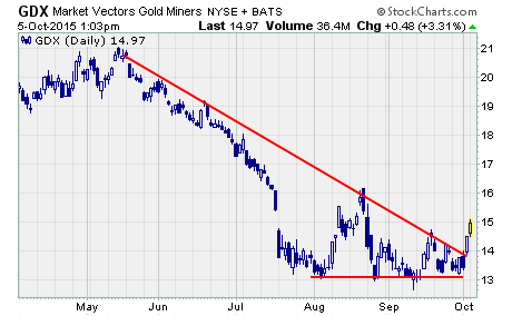 Gold Stocks Rally, a chart of $GDX